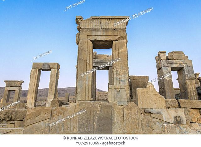 Ruins of Palace of Darius the Great called Tachara in ancient Persepolis, ceremonial capital of the Achaemenid Empire in Iran