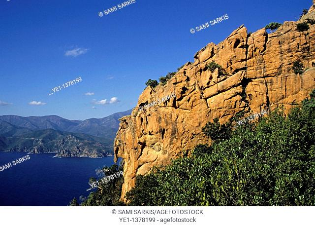 Rock formations of cliffs with Mediterranean Sea below, Piana Calanches, Corsica, France