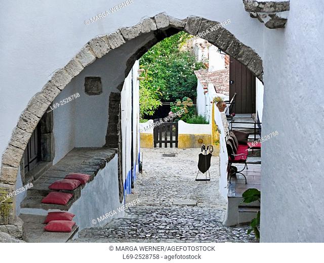 Narrow street in Middle age village Óbidos, Region Centro, District Leiria, Portugal, Europe