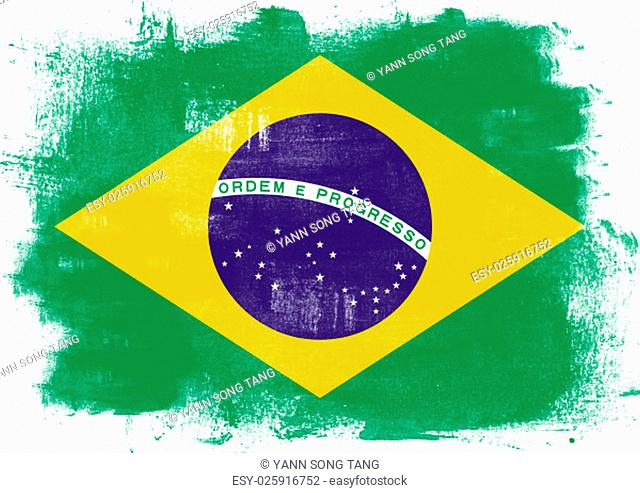 Flag of Brazil painted with brush on solid background