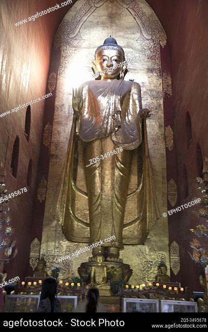 Myanmar: Bagan- Ananda Temple, Standing Buddha in Abhaya mudra (boon giving)