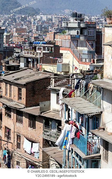 Nepal, Kathmandu. Typical House Construction, Central Kathmandu