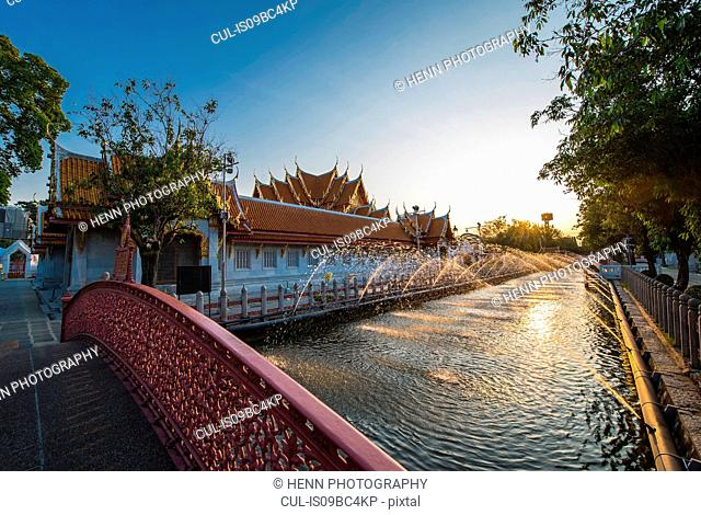 Canal fountains at Wat Benchamabophit - also known as Marble Temple, Bangkok, Thailand