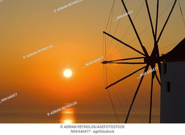 Windmill at sunset. Santorini. Greece