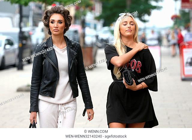 Stars of the television show 'The Only Way is Essex' (TOWIE) film scenes for the show on Loughton High Street Featuring: Amber Turner