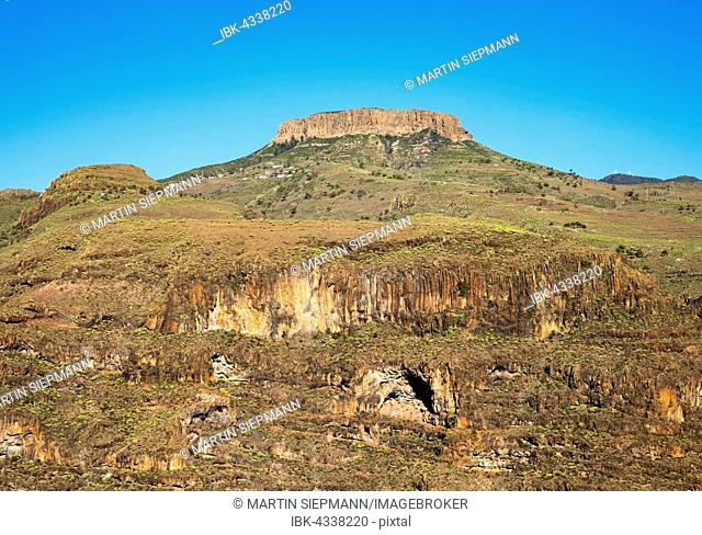 Barranco de Iguala and table mount La Fortaleza, municipality of Vallehermoso, La Gomera, Canary Islands, Spain