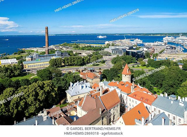 Estonia (Baltic States), Harju region, Tallinn, general view of historical center of the UNESCO World Heritage, and the ferry port on the Baltic Sea