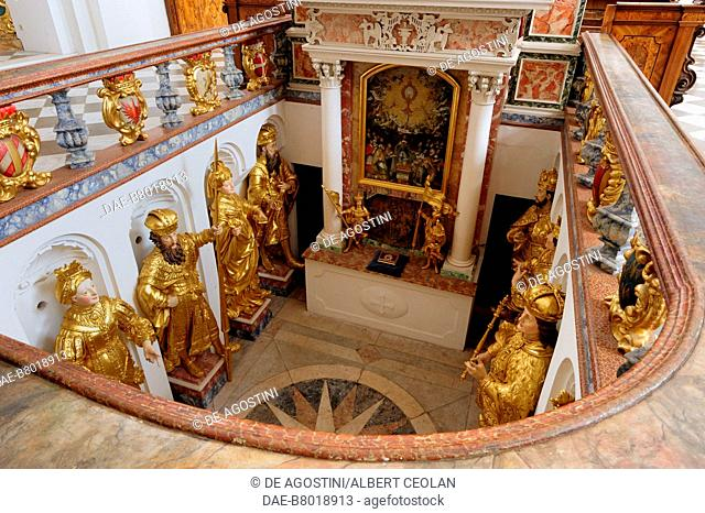Crypt of the princes of Tyrol (Furstengrufte), 1681, by Andreas Tamasch, church of the Cistercian Abbey of Stams, Tyrol, Austria, 13th-18th century