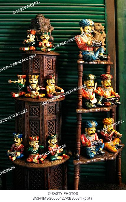 Figurines at a market stall, Delhi, India