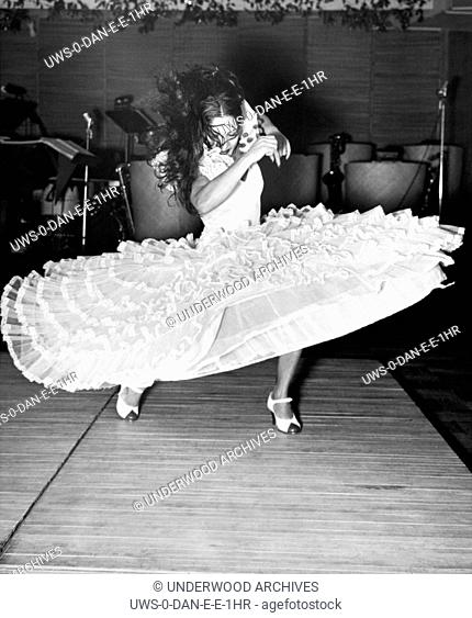 New York, New York: January 8, 1943.Spanish gypsy dancer Carmen Amaya performing her dance at the La Conga nightclub