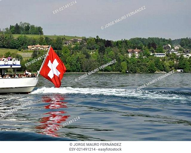 Swiss flag from a boat