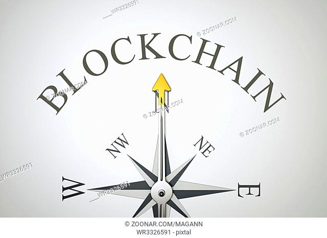 3d illustration of a nice compass with the word blockchain