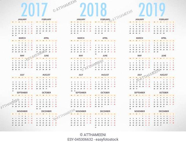 Calendar for 2017 2018 2019 on white background. Week Starts Monday. Simple Vector Template