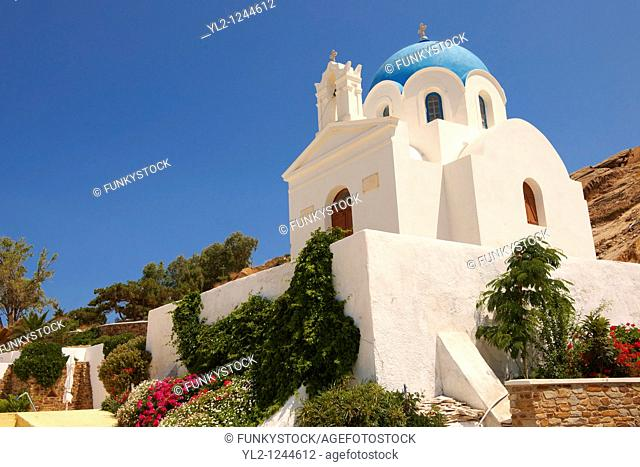 Blue domed Byzantine Greek Orthodox Church, Ios Chora, Cyclades Islands, Greece