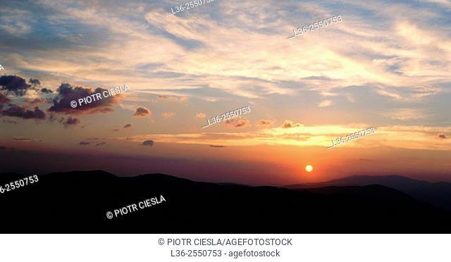 Sunrise in Beskid Slaski Mountains. Poland