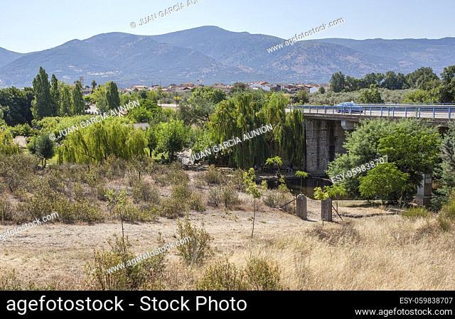 CC-168 bridge road over Abadia natural swimming pool area. Caceres, Extremadura, Spain
