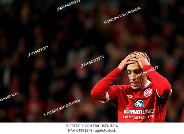 Mainz's Pablo de Blasis reacts during the Bundesliga soccer match 1st FSV Mainz 05 vs VfB Stuttgart in Mainz, Germany, 11 December 2015