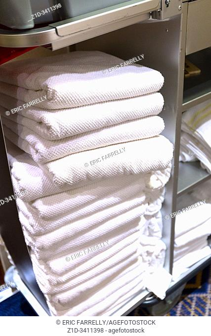 Clean towels for Passenger cabins. Cunard ship. Queen Mary 2. QM2