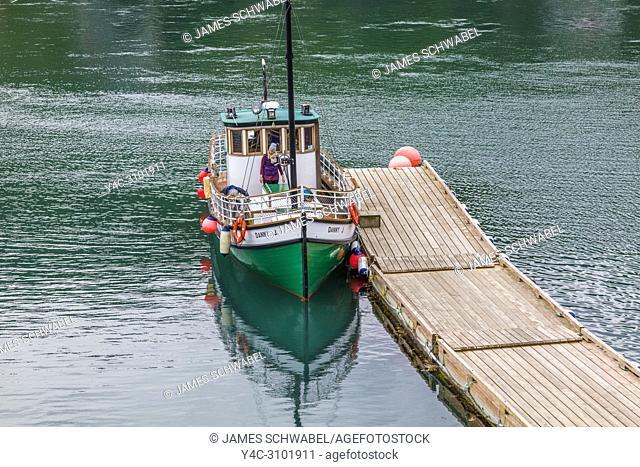 Danny J at dock in Halibut Cove on the Kenai Peninsula across Kachemak Bay from Homer Alaska