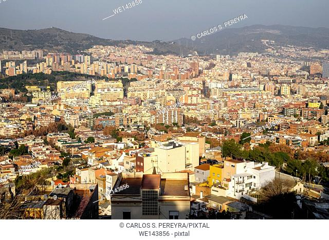 Turo de la Rovira. One of the best point of view of Barcelona, Catalonia, Spain