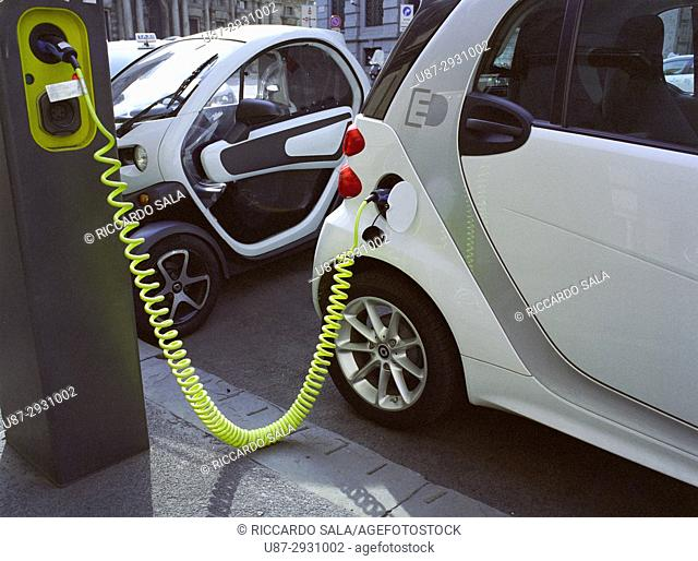 Italy, Lombardy, Milan, Electric Cars Mercedes, Charging Cable For an Electric Cars