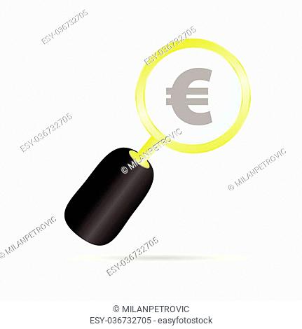 magnifier with euro color vector illustration