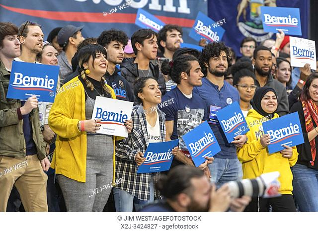 Detroit, Michigan USA - 27 October 2019 - A Bernie Sanders rally at Cass Technical High School during his 2020 campaign for President