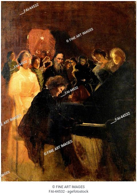 Leo Tolstoy at the concert given by Anton Rubinstein by Pasternak, Leonid Osipovich (1862-1945)/Pastel on cardboard/Realism/1895/Russia/State Museum of Leo...