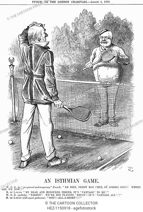 'An Isthmian Game', 1883. The Liberal Prime Minister, Gladstone, scratches his head as he tries to keep score during a game of tennis with the Frenchman