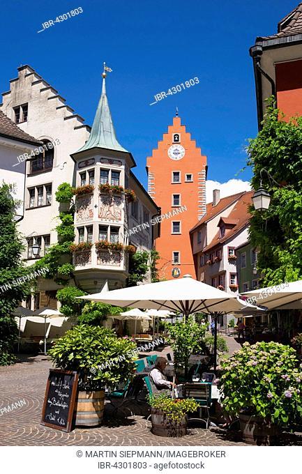 Marketplace, clock tower, Meersburg on Lake Constance, Bodenseekreis, Upper Swabia, Baden-Württemberg, Germany