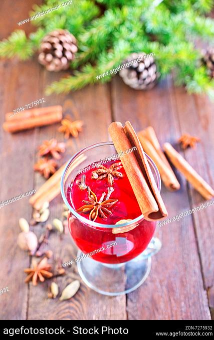 mulled wine and christmas decoration on a table