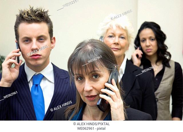 Business team using mobile phones