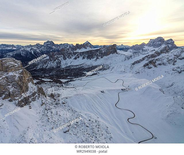 Aerial view of the snowy peaks of Giau Pass, Cortina d'Ampezzo, Dolomites, Province of Belluno, Veneto, Italy, Europe