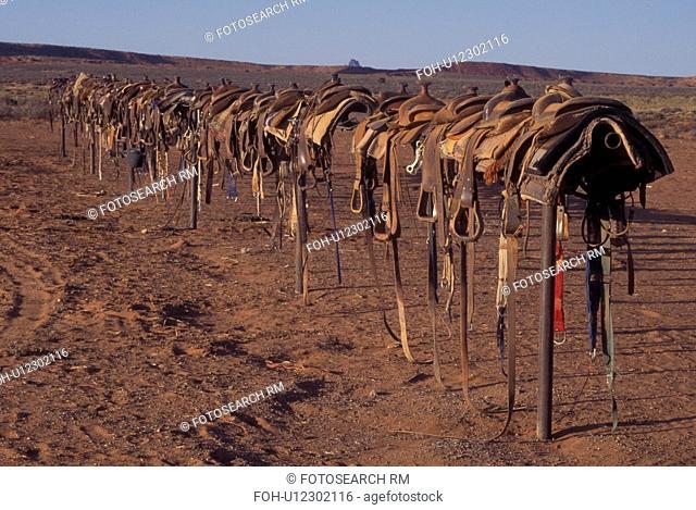 Monument Valley Navajo Tribal Park, AZ, Arizona, Mitchel Butte, saddles