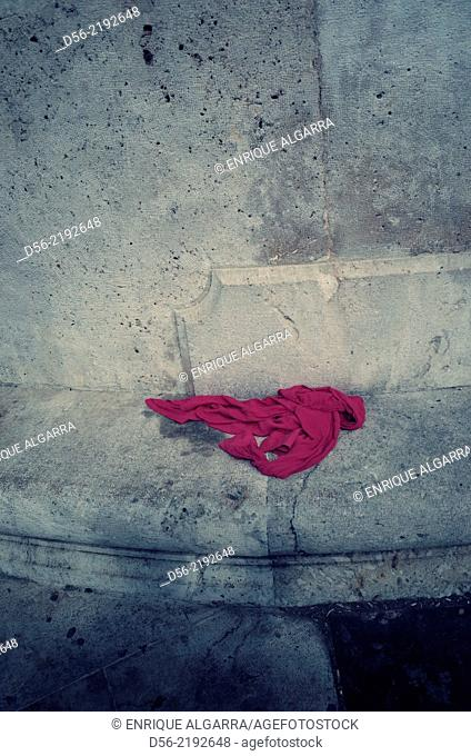 piece of clothe in the street, Valencia, Spain