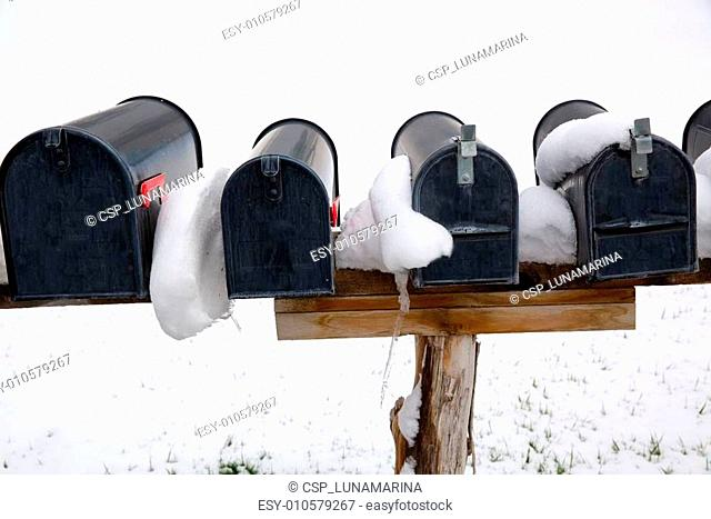 Nevada USA mailboxes with snow
