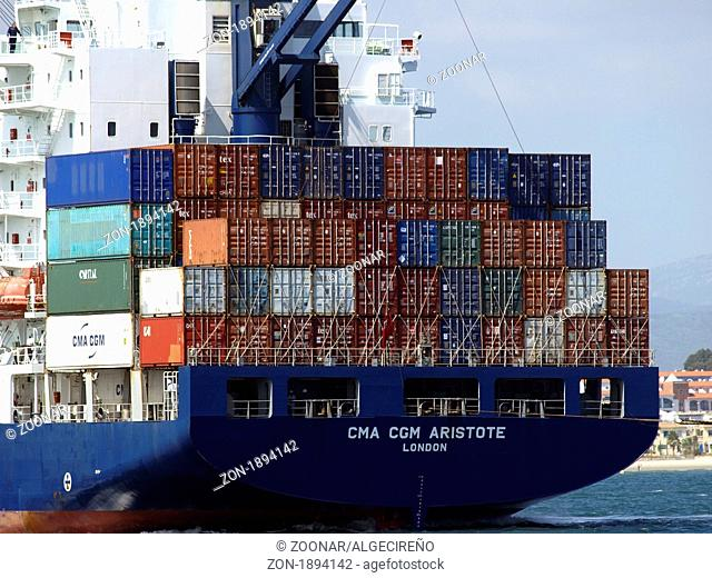 close up of a big container ship