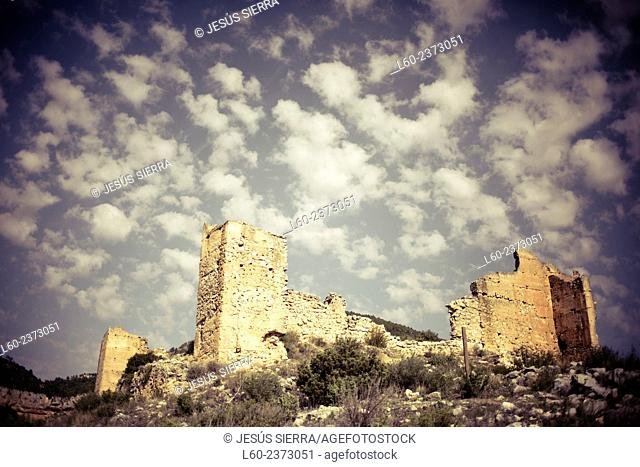 Clouds and castle, Valencia province. Spain