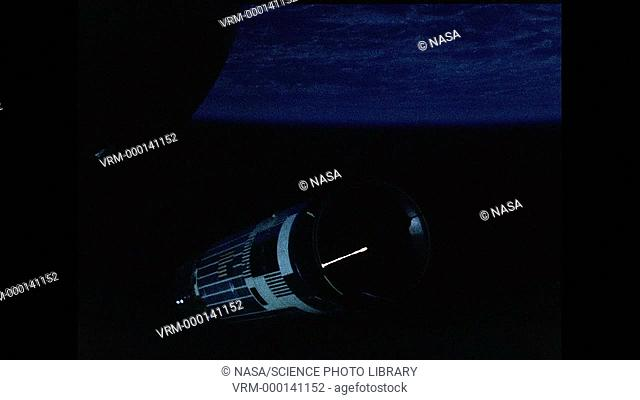 Gemini mission. View from a Gemini manned spacecraft during rendezvous with an Agena Target Vehicle (cylindrical structure)