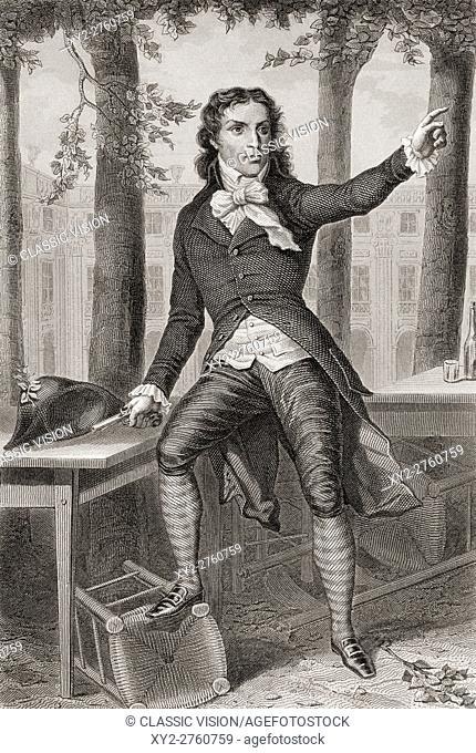 Lucie Simplice Camille Benoît Desmoulins, 1760-1794. Journalist and politician during the French Revolution. From Galerie Historique de la Révolution Française