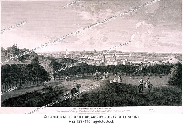 View of London from One-Tree Hill in Greenwich Park, c1774; showing the Royal Observatory to the left and Greenwich Hospital at the bottom of the hill