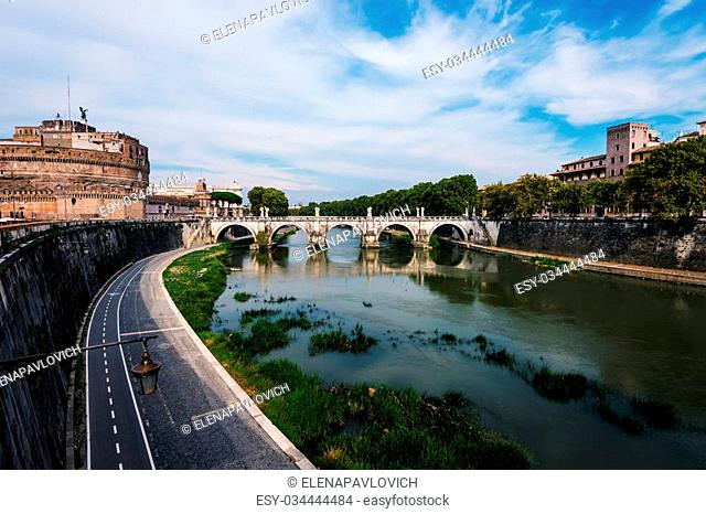 bridge over the Tiber river and Saint Angel castle, Rome, Italy