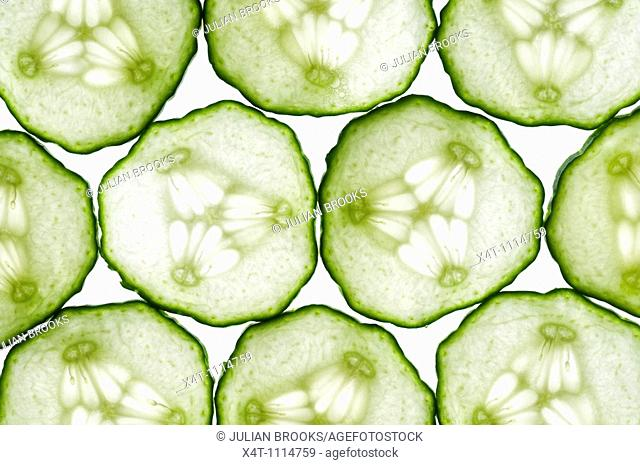 thin slices of cucumber lit from behind, edges touching making a tiled pattern