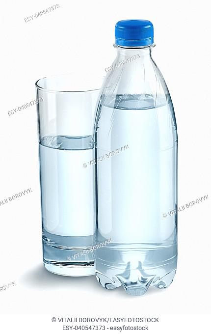 Glass with water and a plastic bottle. Closed plastic bottle. Isolated on white background