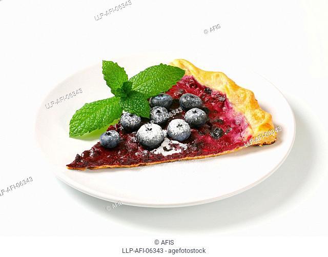 Slice of blueberry tart