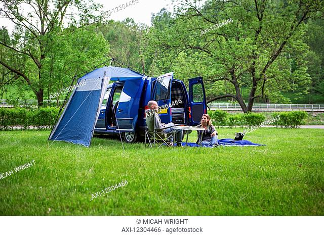 A couple camps just outside of the town centre of Cesky Krumlov, a beautiful little medieval city in the South Bohemian region; Czech Republic