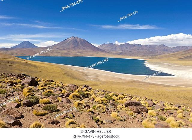 Laguna Miscanti at an altitude of 4300m and the peak of Cerro Miscanti at 5622m, Los Flamencos National Reserve, Atacama Desert, Antofagasta Region