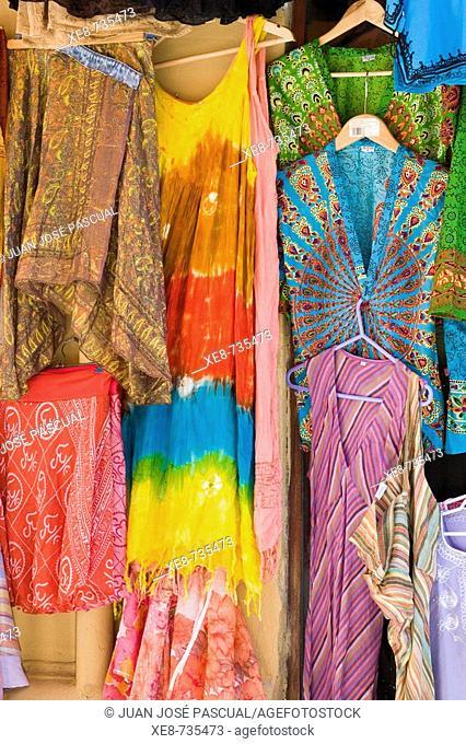 Detail of handicrafts shop in the Alcaiceria commercial area, Granada. Andalucia, Spain
