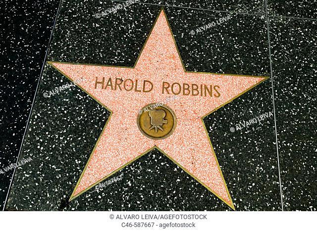 Harold Robbins star at Walk of Fame Star. Hollywood Boulevard. Hollywood, Los Angeles. California. USA