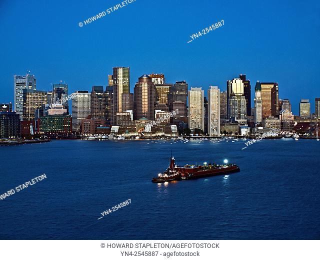 Boston harbor and Boston skyline at night